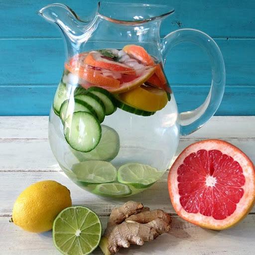 Nước detox giảm cân cam, bưởi và dưa leo