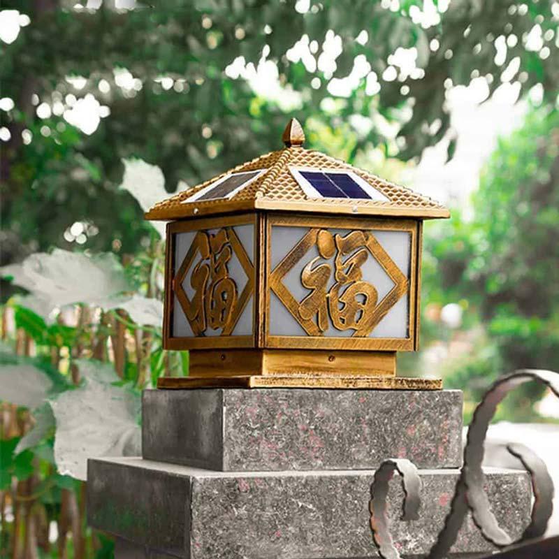 Đèn trụ cổng năng lượng mặt trời chữ Phúc
