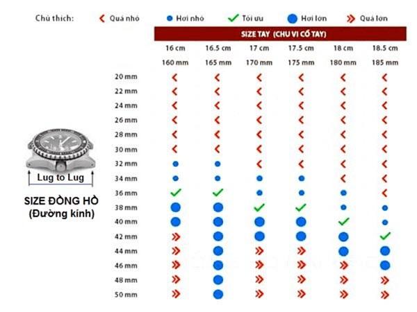 Tiến hành tra bảng size đồng hồ tiêu chuẩn