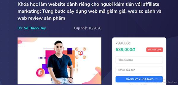 Khóa học làm website dành riêng cho người kiếm tiền với affiliate marketing